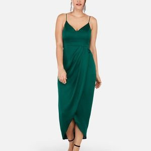 Express Satin Faux Wrap Dress